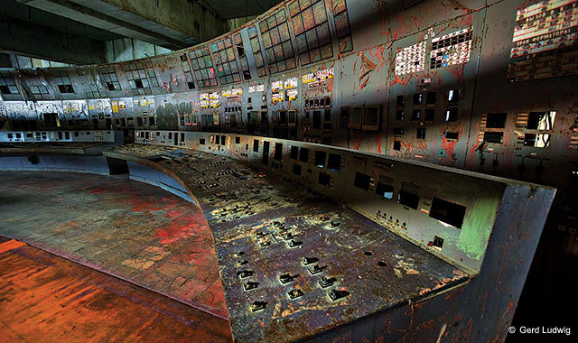 The control room of Chernobyl reactor No. 4.