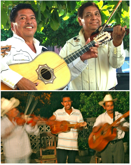 The recordings of legendary son huasteco musicians like Los Camperos de Valles (top) inspire young musicians like Sergio Hernandez Reyes (bottom)