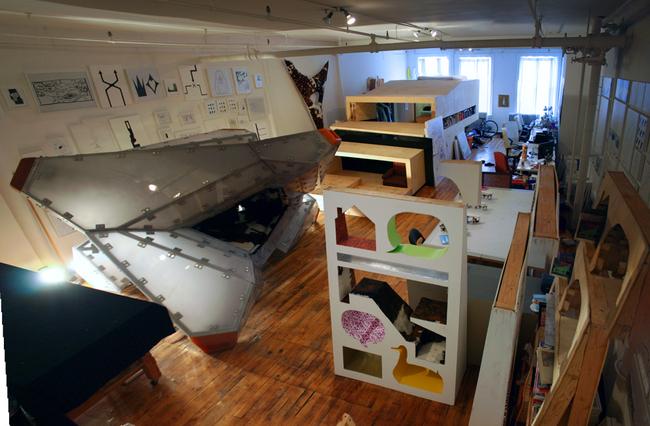 Examples of architect Jimenez Lai's super furniture installations.