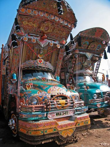 Examples of the colorful Pakistani cargo truck art Asheer Akram hopes to bring to the U.S.