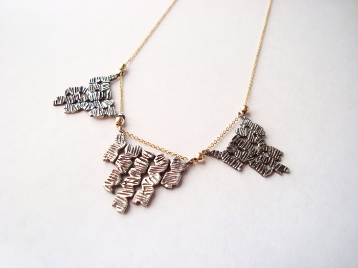 Triple Shambhala necklace - Oxidized Sterling Silver with Gold-Filled Chain. Pledge at $200, $850 level