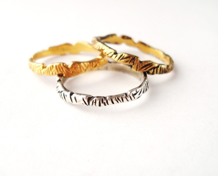 Shambhala stacking rings - You get ALL 3 rings in each color!  Sterling, Gold Vermeil and Antique Vermeil (whole sizes 5-9). Pledge at $90, $850 level