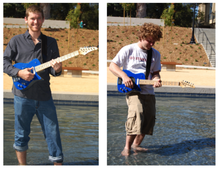 Me and Ari rocking out in a fountain at Stanford