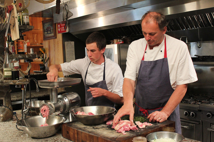 Instructional videos will complement the online component of the project - from preservation techniques, to recipes from award-winning chefs or sausage-making (as seen here) with Chef Michael Stadtlander and his apprentice Buddy.
