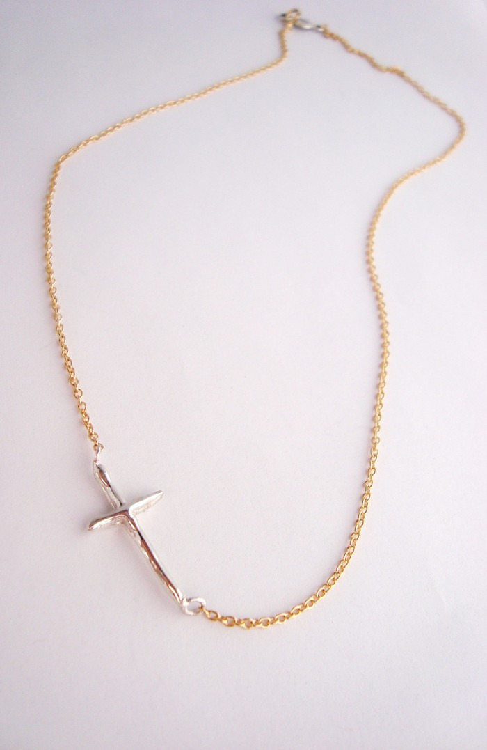 Miraculous Sideways Cross. Hand carved sterling silver and Gold-filled chain. Pledge $60 level