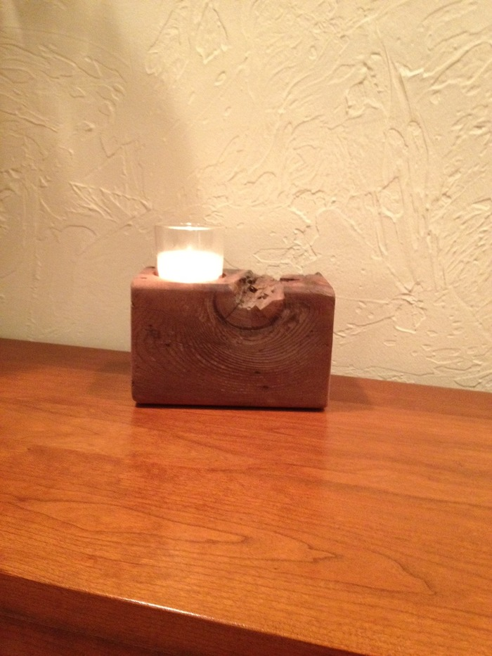 A one of a kind, Studio P8 candle holder. Made from up cycled barn lumber.