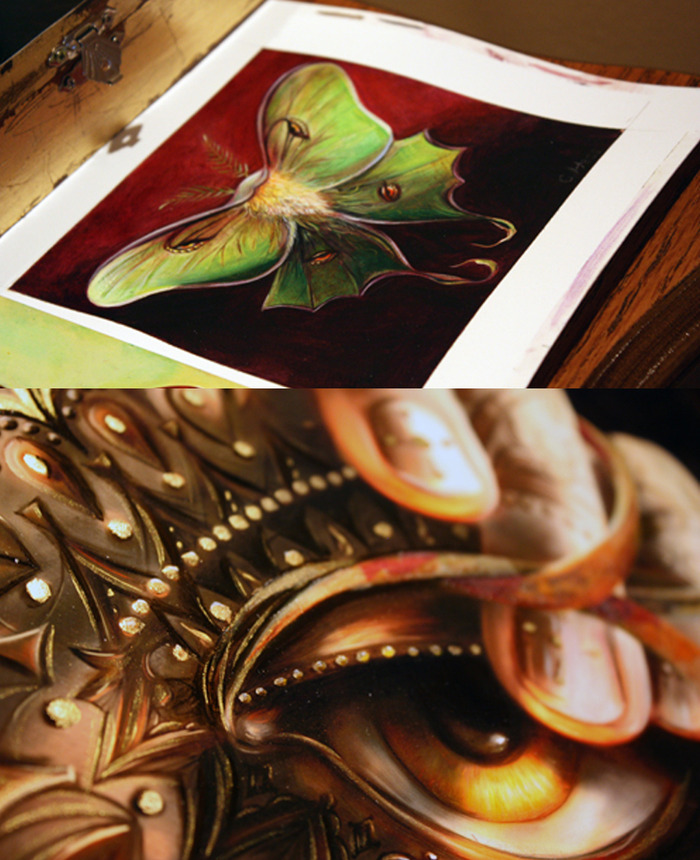 Close up of some of my final paintings.  Reward #10