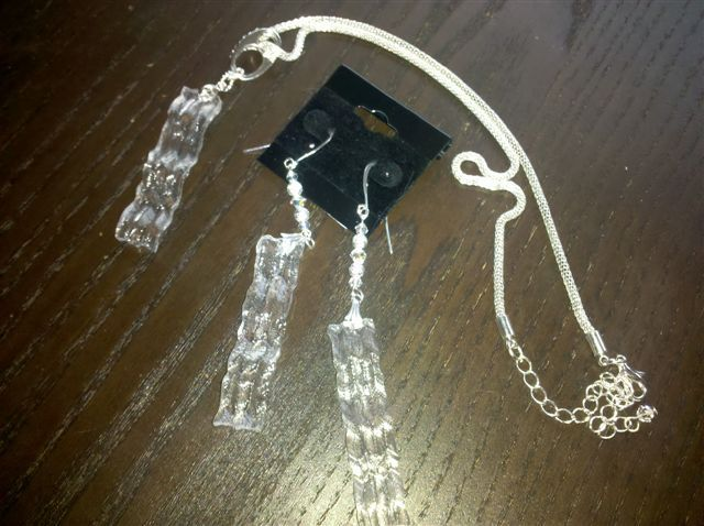 Crystal Bacon earrings and and necklace
