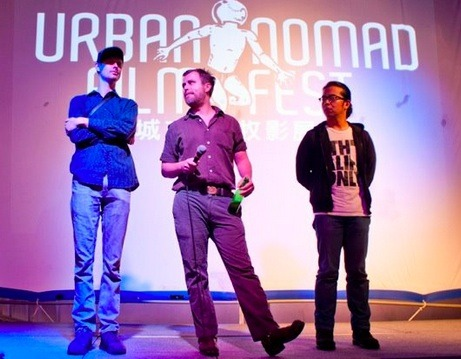Mitchell and Mark with Thomas (The Taiwan Oyster's 2nd AD) during a Q&A at the 12th Annual Urban Nomad Film Festival in Taipei, Taiwan
