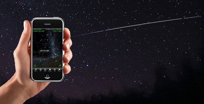 iOS and Android apps - shown here over a real image of NASA's NanoSail-D spacecraft - will let you track SkyCube, send messages, and request images from it.