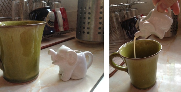 """Little Elephant Creamer – """"at rest"""" and """"in action""""!"""