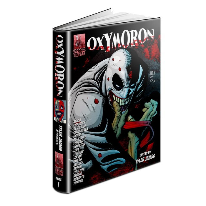 Oxymoron Hardcover mock-up (Cover art by Jonathan Rector, colors by Ty Tyner)