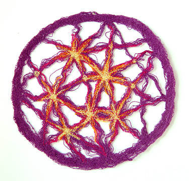 """4"""" stitched Supercluster Lens. Can be hung with a sewing pin or use a hanging suction cup to attach it to glass for a thread suncatcher."""