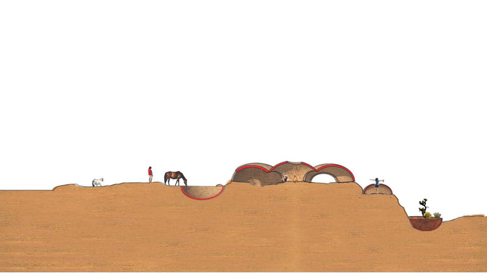 Sectional rendering of the Artist Center for Local and Visiting artists in the Navajo Nation