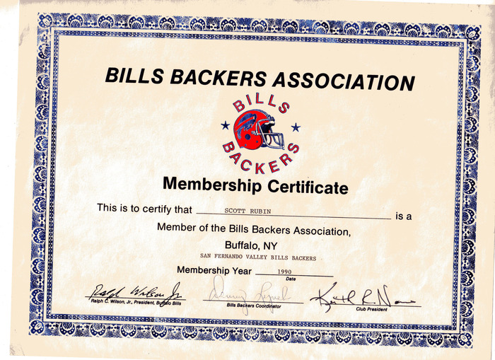 "A once proud member of the BIlls Backers Association. Come with me and join the new Association in town: The ""Losing It"" Commiserators Club. Release the pain."