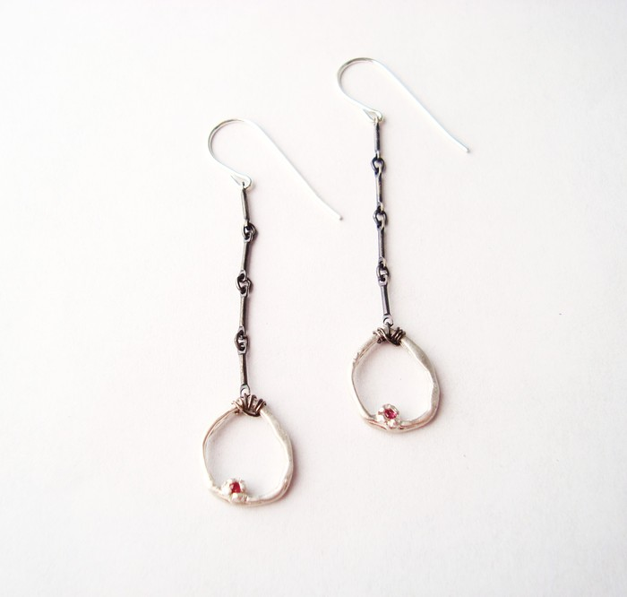 Divine Love Earrings - Sterling Silver/ Oxidized w/ 1.5mm Rubies! $75 Pledge