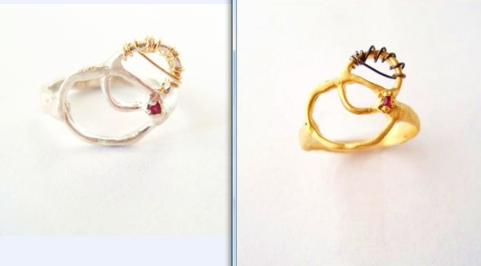 Pledge $55. 'Divine Love' ring w/ 1.5mm ruby. Your choice of sterling silver or 14K gold vermeil. Comes is in whole sizes 5 - 9. You will LOVE this ring!!