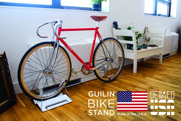 The Guilin Bike Stand is designed in the U.S.A. and made in the U.S.A.