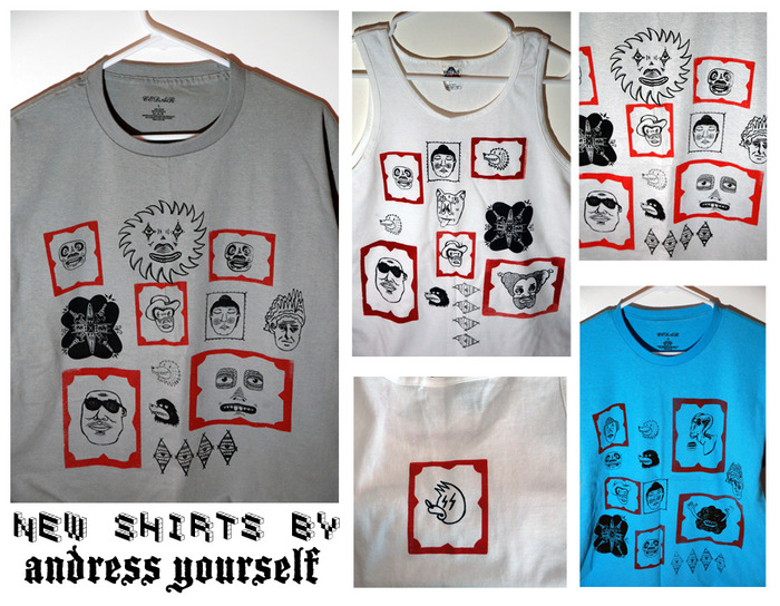 Framed faces tees and tanks available.