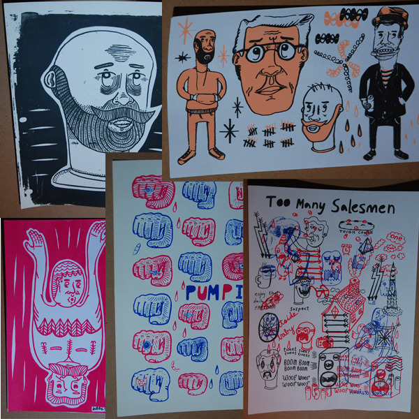 Back Catalogue clockwise from top left:  Old guy head 8x10, Stalkers 9x6, Too many salesmen 8x10, Pump it 8x10, Flip flopper red 6x9.  Choose any 4!