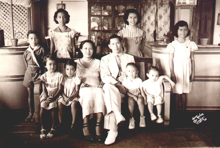 The Antonio Family-Eugenio and wife Pacita (center) with 8 children named in alphabetical order:Alfonso (deceased), Belinda, Cynthia, Diana, Eugenio III, Frances, Gilberta, Hernan and Irene