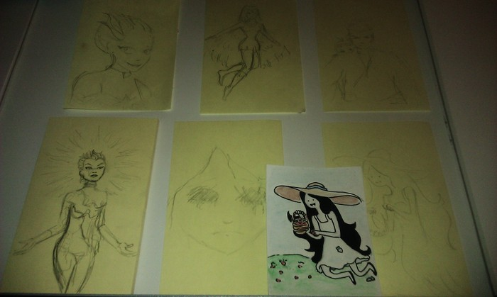 Sketches of characters for Sketch Cards, available (includes Membership) in ($16) Black and White and ($24) Color