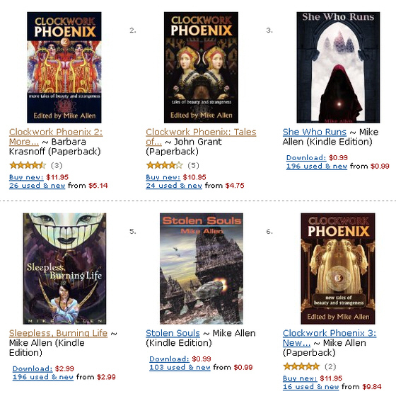 E-book editions (DRM free) of the CLOCKWORK PHOENIX anthologies and bonus short stories