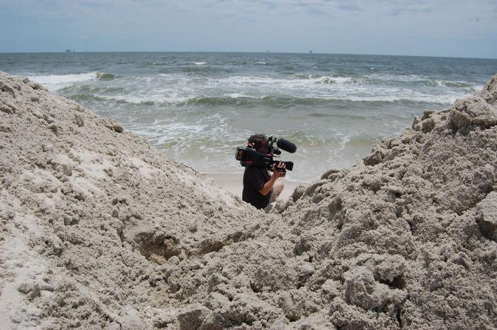Shooting on beach, dodging BP security