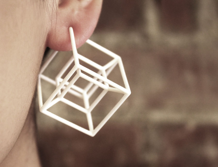 $45 -- Hypercube earrings, made in 3D printed nylon. Wonderfully eye-catching and lightweight. Available in pierced or clip-on. Add $10 for international shipping.