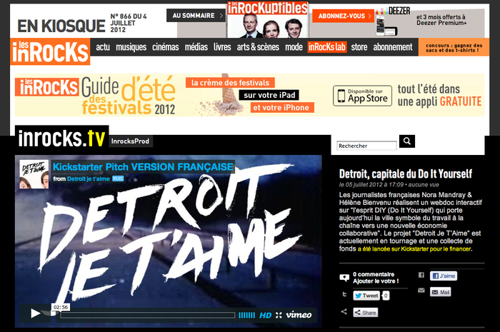 Les Inrocks, French magazine, are featuring us on their web TV.