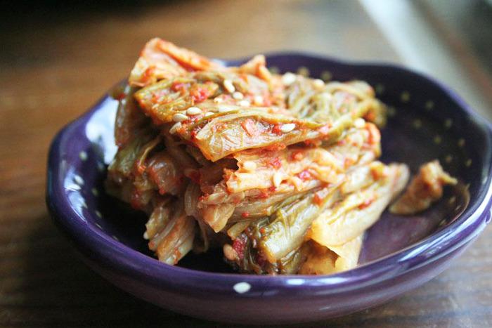 Freshly fermented Napa cabbage kimchi (baechu)