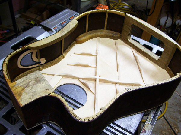 Shown Above: A custom acoustic in progress, from when i used to build instruments.