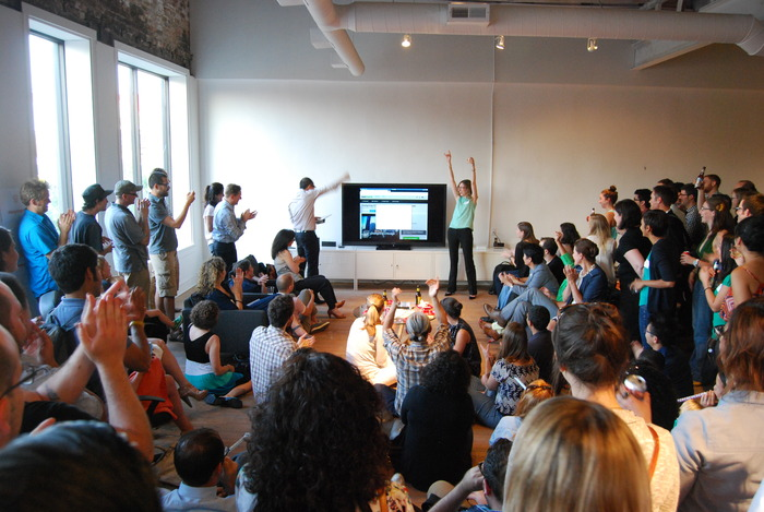 The moment of launch at our Designing Chicago party!
