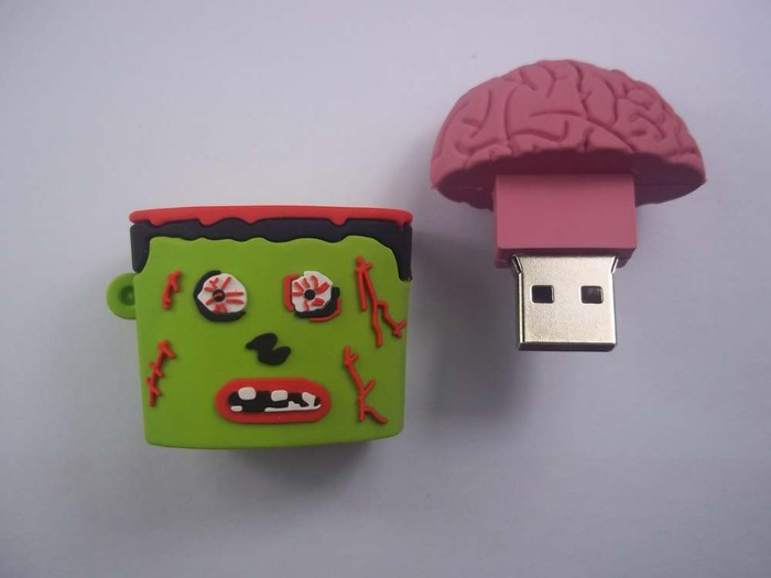 Zombie 4gb usb flash drive --- Pull brain from zombie head, ear is ring for keychain