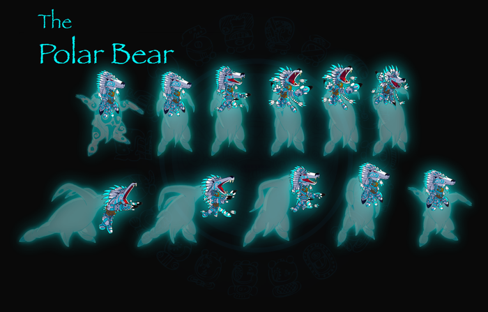 A still image of a frame-by-frame animation of the Polar Bear Shaman.