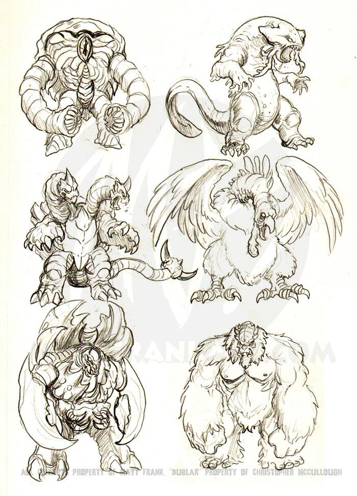 (Some original monster concepts Matt put together for Kaiju Combat)
