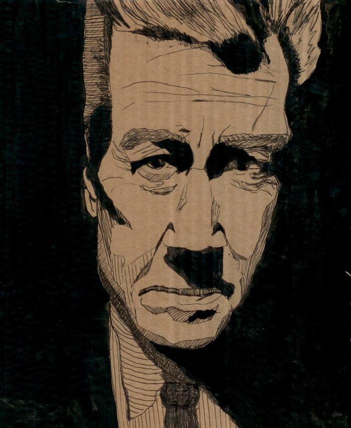 David Lynch portraiture currently on display at PhilaMOCA