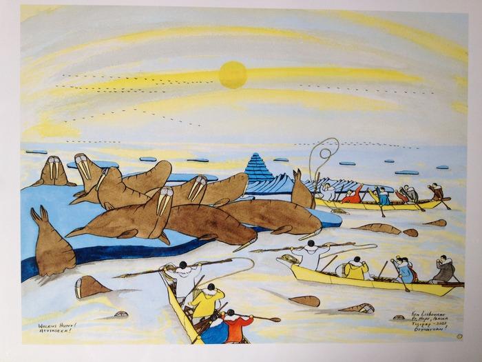 """""""Walrus Hunt! Aivikseek!"""" (18in x 14in) by Ken Lisbourne!  Ken is an Inupiaq artisit, from Point Hope, AK"""