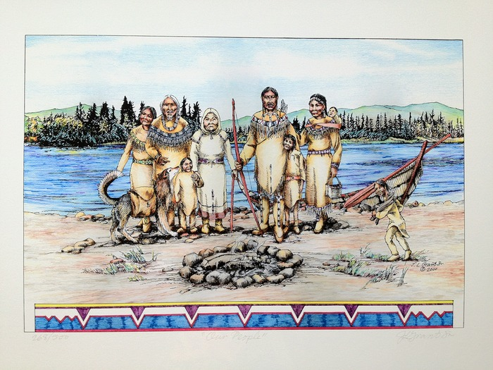 """""""Our People"""" (22in X 17in) signed limited edition print by the late Koyukon artist James Grant Sr.!  This limited edition print is a recognized treasure amongst the Koyukon and Gwichin people"""