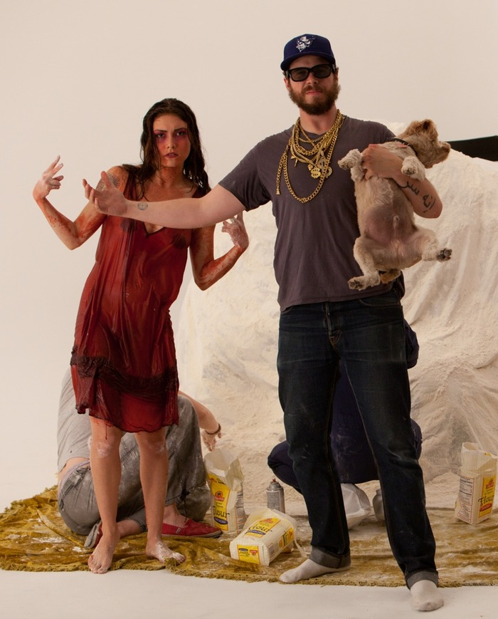 Daniella Pineda and Shane Duckworth (holding Chuba the dog)