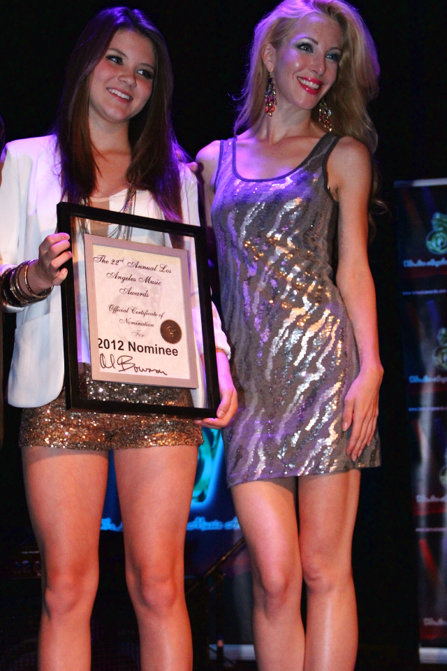 Brieanna accepting LA music Award nomination
