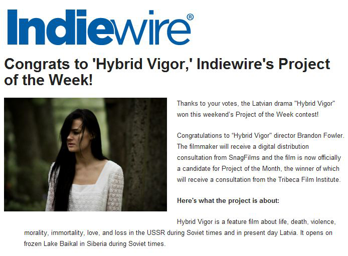 """We just won Indiewire's """"Project of the Week"""" Contest!!"""