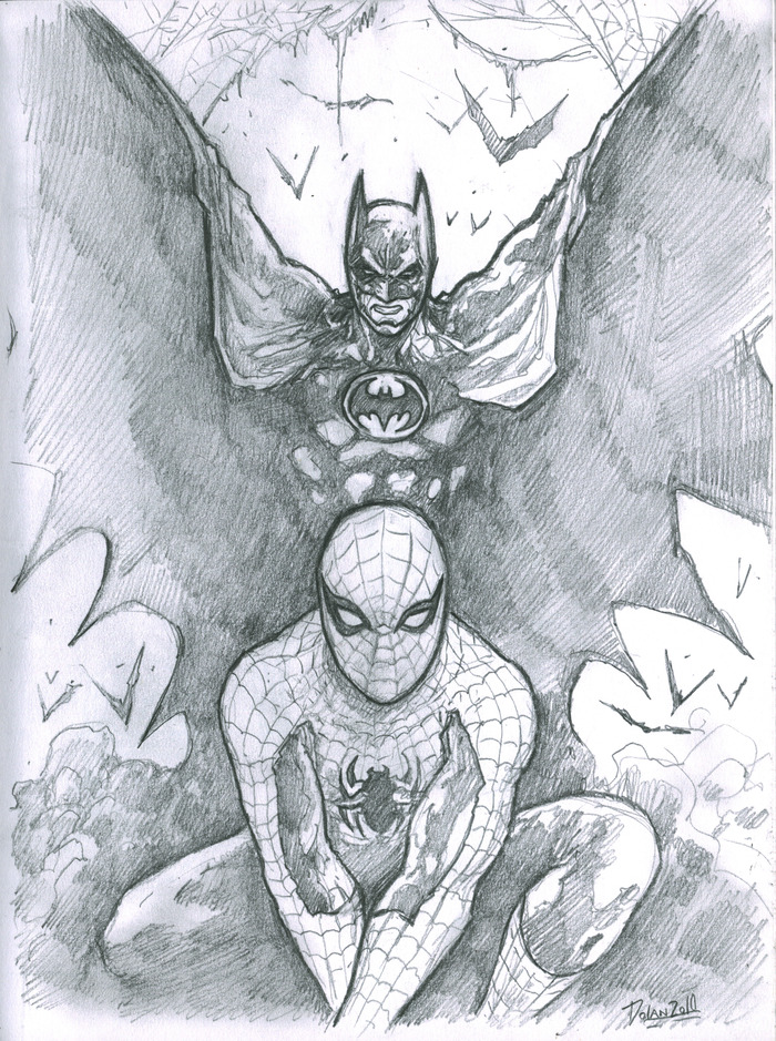 """""""SKETCH COMMISSION"""" example: Spiderman and Batman"""