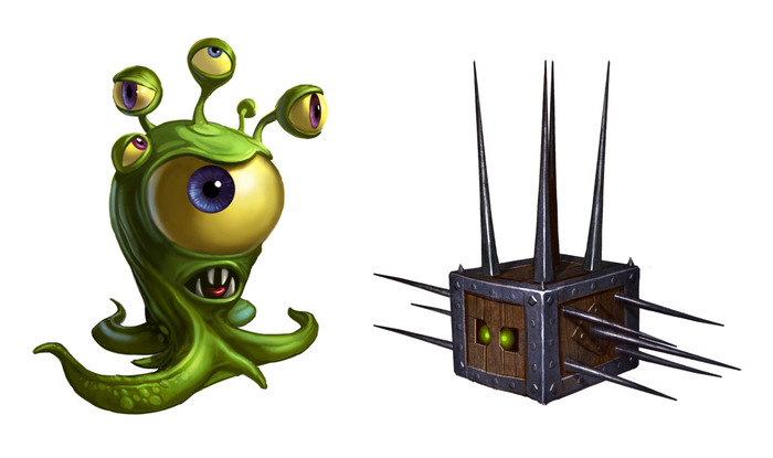 Another missing enemy: the googly eye/spiked coffer. Flip the eye over and transform it to create a platform. Transforming back regenerates the eye! This would bring the number of enemies up to nine.