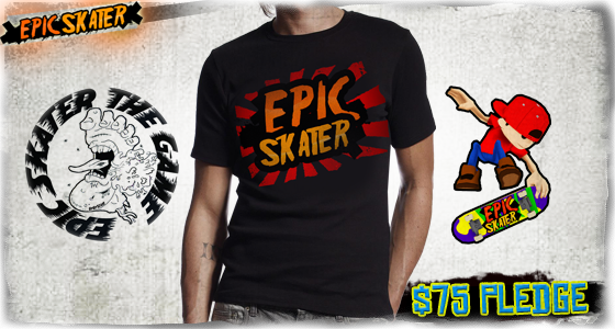 Epic Skater T-Shirt and 2 stickers designed by UpUpStart. T-Shirts available in S, M, L, XL and XXL.