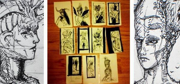 "each sketch is about 3""x5.5"""