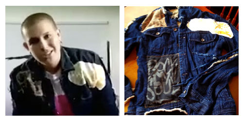 """PICTURE 6: ONLY 1 AVAILABLE! GOD-DES' CUSTOM MADE JACKET FROM THE """"LICK IT"""" VIDEO, MEN'S DENIM JACKET SIZE SMALL WITH PATCHES SEWN ALL OVER IT"""