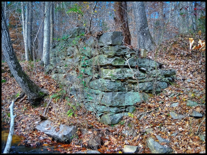 Secret location, all that remains of a mill foundation from the mid 18th century