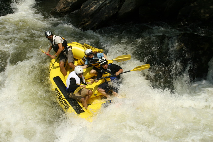 Andy Hinton from Southeastern Expeditions takes us down the Chattooga. (Notice the camera on Kevin's head; the rest of our gear was in that gray box at the front of the raft!)