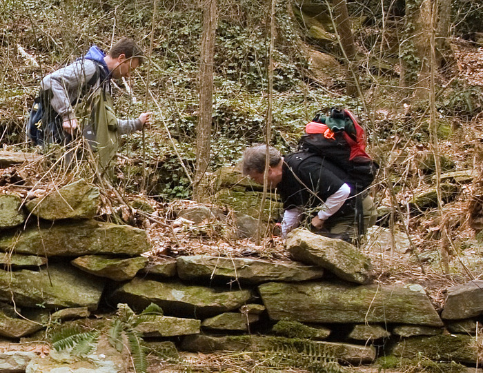 Dr. Karl Wegmann (left) and me clearing debris from a dry laid wheel pit built before the Revolutionary War.